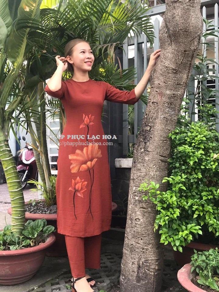 ☘ Bộ áo dài 1 tà vẽ hoa vải đũi Hàn Quốc