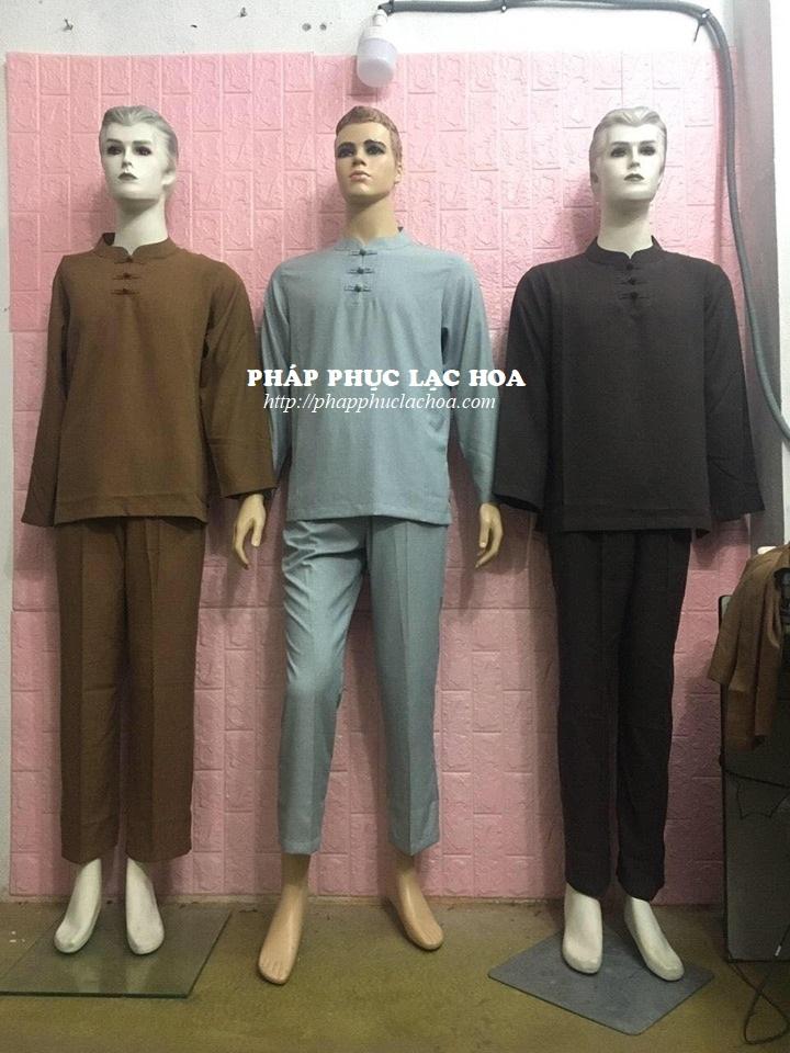 ☘ Bộ nam cổ trụ tay dài vải Hàn Quốc. Màu sắc: Lam, nâu, sữa