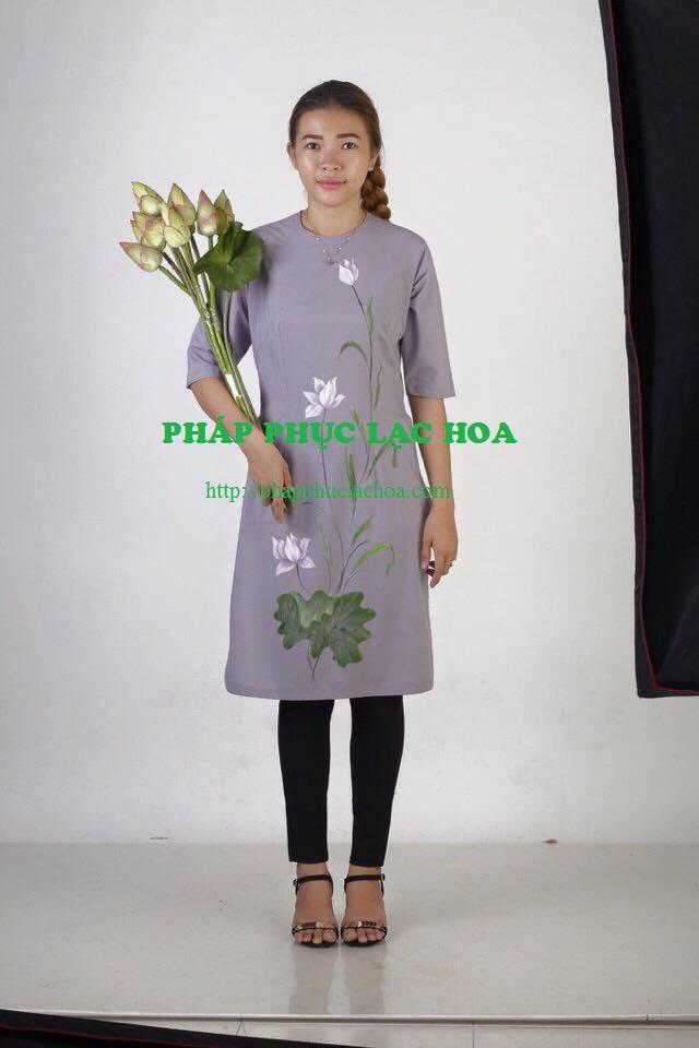 ☘ Bộ thanh lịch áo dài tay draplan vẽ hoa vải thun sitimut
